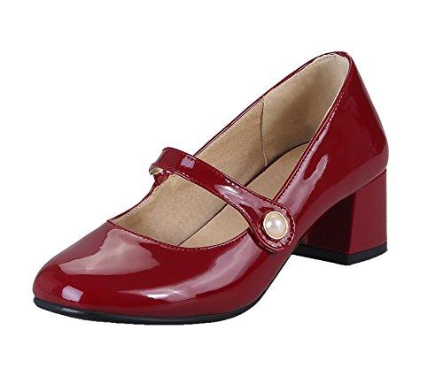 Solido tallone on Voguezone009 Pompe Cinturino Tinta Pu Pull scarpe Unita Rosse Donna Con S4CqR