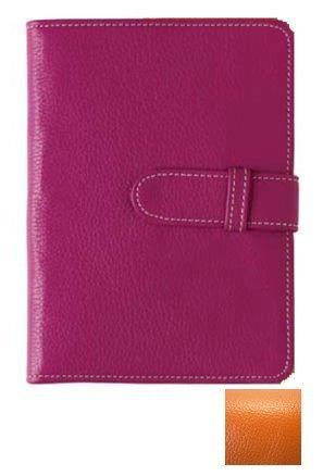 Tangy orange pebble-grain brag leather book by Raika - 4x6