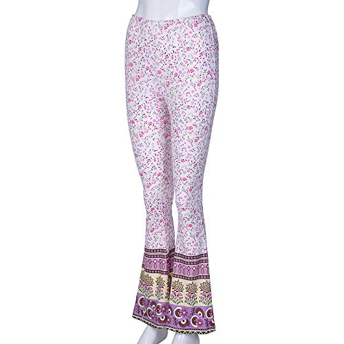 Pant For Women, Pervobs Womens Casual High-Waist Floral Print Sports Bell-bottoms Harem Yoga Wide Leg Pants(XL, Pink) by Pervobs Women Pants (Image #5)