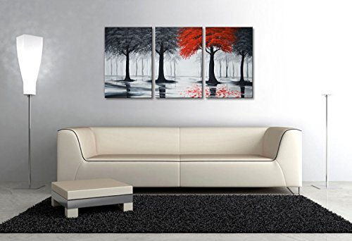 EVERFUN ART Extra Large Handmade Landscape Oil Painting On Canvas Modern Forest Wall Art Contemporary Artwork
