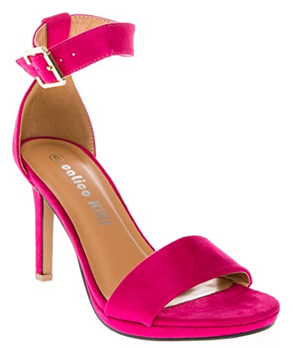 CALICO KIKI DEVYN-CK01 Women's Open Toe Ankle Strap Stiletto High Heels Dress Sandal Pump (8 US, Fuschia)