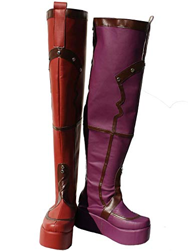 GOTEDDY Girl Harley Boots Halloween Cosplay Thigh High Boots Leather Clown Shoes