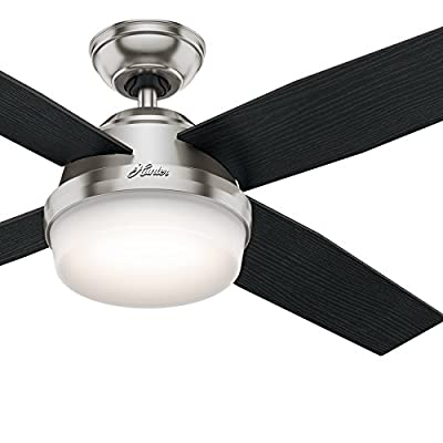 """Hunter Fan 52"""" Brushed Nickel Contemporary Ceiling Fan with LED Light Kit and Remote Control (Certified Refurbished)"""