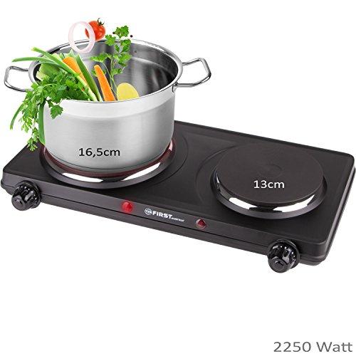2250 Watt Doppel-Kochplatte 16,5cm und 13cm Kochfeld | Gusseisen-Platte für jedes Kochgeschirr | bis 500°C Oberflächentemperatur | Thermostat | Überhitzungsschutz | schwarz