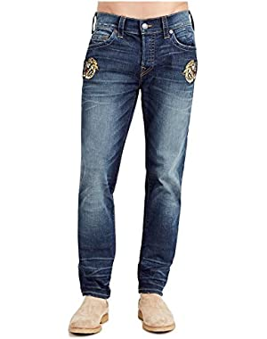 Men's Rocco Relaxed Skinny Slim Fit No Flap Jeans in Urban Tiger