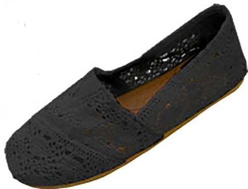 Flats 18 3008 Crochet On Womens Shoes Slip Canvas Black zYTwUxdq