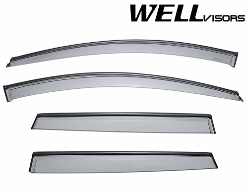 WellVisors Side Window Wind Deflector Visors - Volvo XC60 2010 2011 2012 2013 2014 2015 2016 with Black Trim (Window Deflector Volvo compare prices)