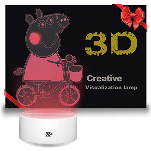 ilizili lamp Peppa Pig on a Bicycle - 3D Night Light Pepa on a Bicycle - Excellent Peppa Pig lamp - Peppa Pig Toy - Peppa Pig Light for Kid - 3D Light Peppa in Our 3D Lamps(White) (Pig Peppa Light)