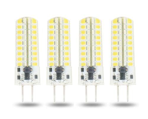 Lamsky GY6.35 G6.35 LED Light Bulb Dimmable,G6.35/GY6.35 Bi-pin Base 5W,AC/DC 12V Daylight White 6000K,GY6.35 Base T4 JC Type 50W Halogen Replacement(Pack of 4)