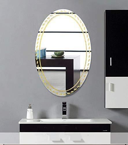 Bathroom Mirror,Simple Frameless Vanity Mirror Wall Hanging Oval Bathroom Mirror Wash Table Mirror Makeup Mirror Bathroom Mirror