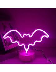 Halloween Bat Neon Light Night Lights met Houder Base, LED Lamp Neon Decor, Neon tekenen Licht voor kinderkamer decoratie aangedreven door batterij/USB (Roze vleermuis)