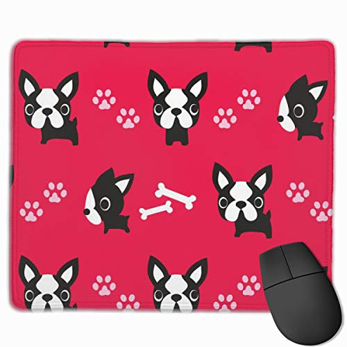 French Bulldog Bone Red Non-Slip Unique Designs Gaming Mouse Pad Black Cloth Rectangle Mousepad Art Natural Rubber Mouse Mat with Stitched Edges 9.811.8 Inch