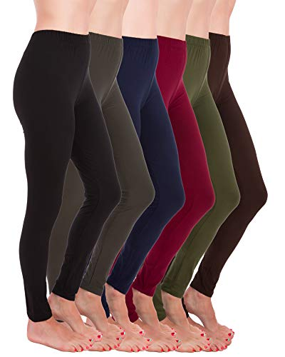 Homma Premium Ultra Soft High Rise Waist Full Length Regular and Plus Size Variety Pack Leggings (XL/2XL, Black,Charcoal,Navy,Burgundy,Olive,Brown)