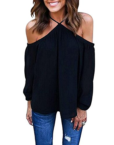 - Vemvan Women's Spaghetti Halter Off The Shoulder Blouse Long Sleeve Shirt Tops Black