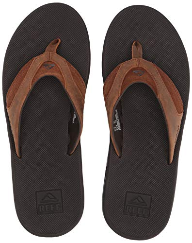 Extra Wide Leather Sandals - Reef Men's Leather Fanning Sandal, Bronze, 8 Medium US