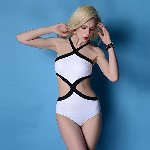 XLHGG Bikini geométrico del bikiní de la playa del poliester del bikiní del mono del halter de las mujeres, blanco