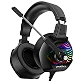 ONIKUMA Stereo Gaming Headset for PC, PS4, Xbox One, Noise Cancelling Headphones for Mac, Laptop, Nintendo Switch - Breathing RGB LED Lights, 7.1 Surround Sound, Memory Foam Ear Pads, Volume Control