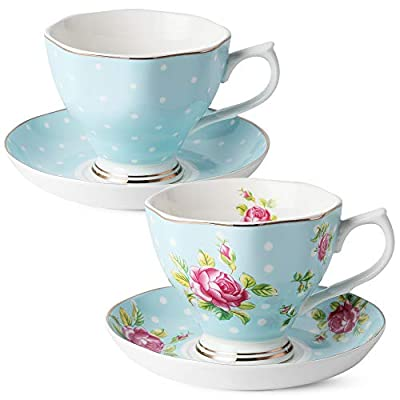 BTäT- Floral Tea Cups and Saucers, Set of 2 (Blue - 8 oz) with Gold Trim and Gift Box, Coffee Cups, Floral Tea Cup Set, British Tea Cups, Porcelain Tea Set, Tea Sets for Women, Latte Cups