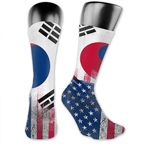 Korean American Half South Korea Half America Flag Unisex The-Calf Socks Crew Socks Funny Sock