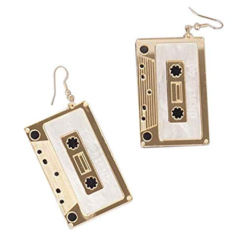 CutieJewelry Cassette Tape Dangle Cute Pretty Earrings (Goldish