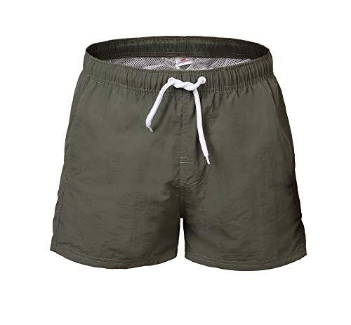 DoSmart Men's Swim Trunks Quick Dry Beach Swim Shorts with Bathing Suits Mesh Lining (Army Green, Medium) ()