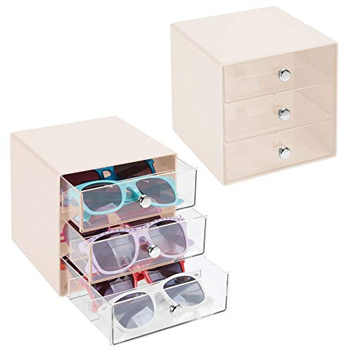 mDesign Stackable Plastic Eye Glass Storage Organizer Box Holder for Sunglasses, Reading Glasses, Accessories - 3 Divided Drawers, Chrome Pulls, 2 Pack - Cream/Clear