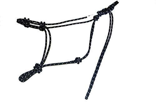 Horse Rope Training Halter - 4 Knot From 1/4 Stiff Polyester Halter Cord - Size Rope Most Trainers Use! (Black with White, Standard)
