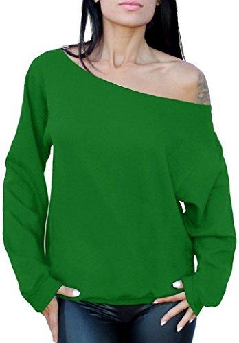 Awkwardstyles Women's Sexy Off The Shoulder Slouchy Oversized Sweatshirt S Green