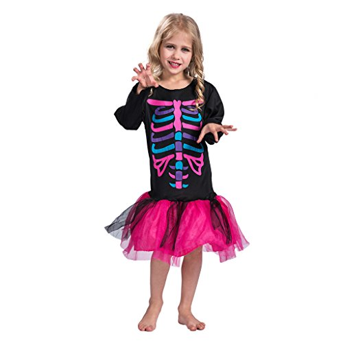 EraSpooky Child's Punk Bones Halloween Skeleton Witch Costume(Rose Red, Small) ()