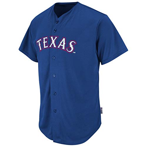 Full Button Adult Style Pro (Majestic MLB Adult Cool Base Pro Style Texas Rangers Jersey Large Royal)
