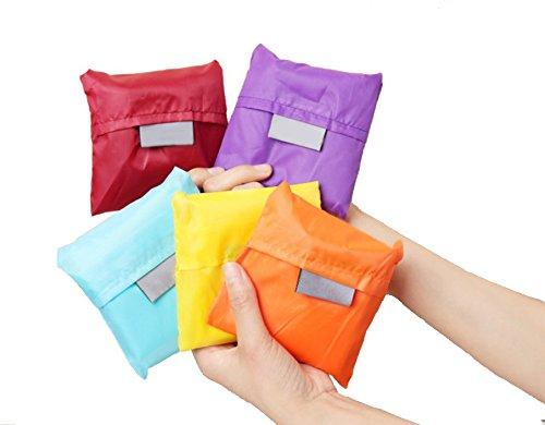 MonstGear 5pcs Mixed Color Reusable Storage Shopping Bag Grocery Bags Tote