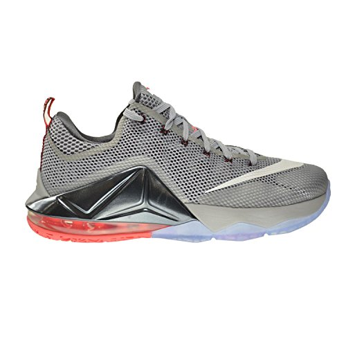 Nike Lebron XII Low Men's Shoes Wolf Grey/White-Dark Grey-Hot Lava 724557-014 (9 D(M) US)
