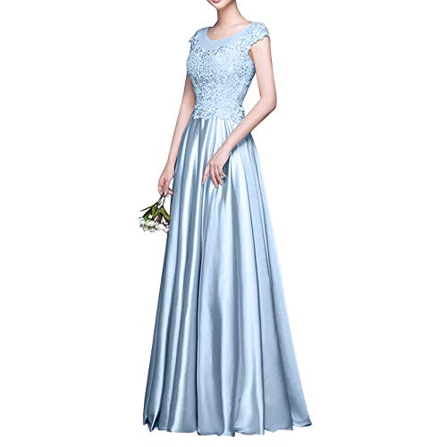 Blau Ballkleider Abschlussballkleider Anmutig Rosa Ballkleider Satin La Marie Rock Himmel Spitze Braut Abendkleider qwAn7FxT