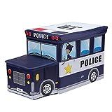 Whiteswan Storage Stool - Cartoon Pattern Toy Portable Folding car Shape Storage Box/C