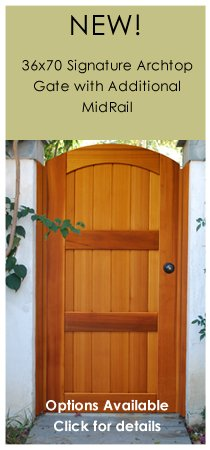 Signature Archtop Wood Garden Gate, With Latch, Hinges And Wood Jambs