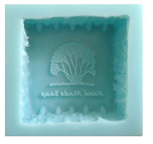 Molde de silicona para jabones artesanos, diseño cuadrado con un árbol y texto