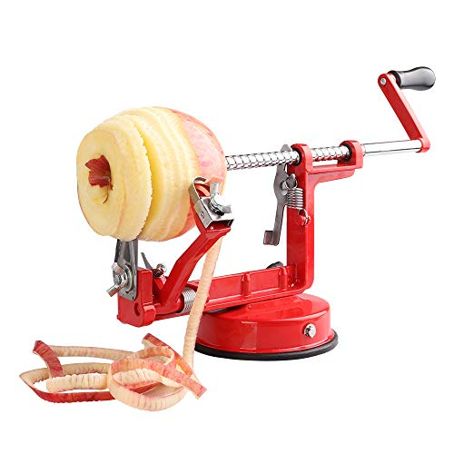 Apple Peeler, Stainless Steel Apple Corer Slicer Peeler, Durable Heavy Duty Die Cast Magnesium Alloy Apple Peeler Slicer Corer with Suction Base, Red