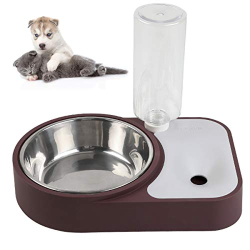 Lovinouse Pet Water and Food Bowl Set, No-Spill Detachable Dog Cat Automatic Water Dispenser with Stainless Steel Bowl…