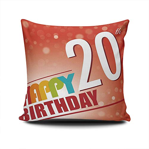 YOLIYANA Breathable 20th Birthday Decorations Cushion Cover Sofa Cushion Cover Pillowcase with Pattern 12×12 Inches ()