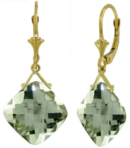 14k Yellow Gold Leverback Earring with Checkerboard Cut Green Amethysts