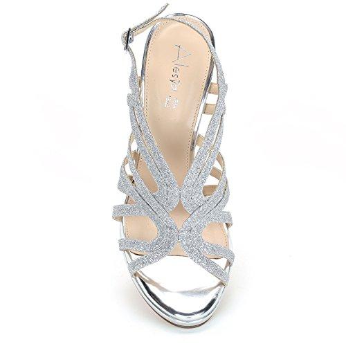 12 Heeled Heel amp;Scarpe Argento Sandals Glitter High Scarpe Height cm Alesya 8Uqxn4ft