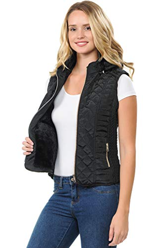 Top PlusSize Black Puffer Hooded Zip Up Vest for Women Quilted Fur Winter Warmer Sweater Jacket Large Gift Easter Basket Stuffer for Sale Big Girls Fiance Wife Mom (Black, 3XL)