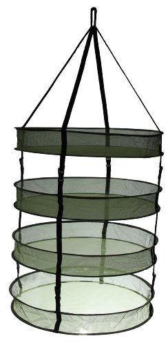"""iPower GLDRYRD2L4 3"""" Thickest Best Quantity Steel Rings Foldable Heavy Duty Hanging Dryer Rack,2Feet Diameter 4 Layer Collapsible Mesh Hydroponic Drying Rack Net w/ Clips&Storage Carrying Bag"""