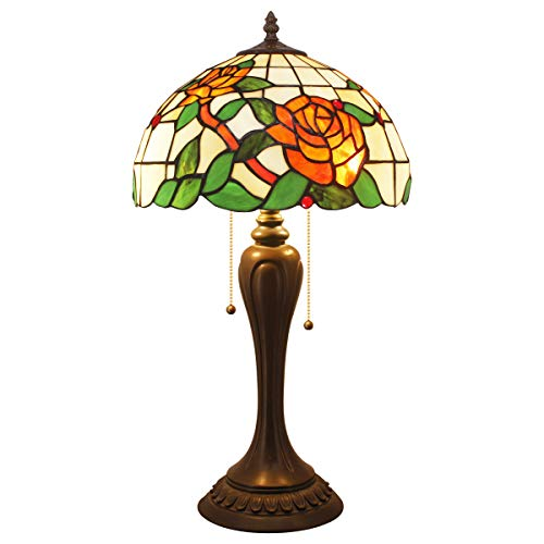 Tiffany Style Table Lamps W12 Tall 22 inch Stained Glass Red Rose Lamp Shade 2 Bulb Desk Antique Light Resin Base for Girlfriend Living Room Bedroom Bedside S061 WERFACTORY