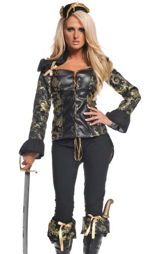 Hooked Sexy Pirate Costume - Womens XL 16-18 (Holloween Pirate Costumes)