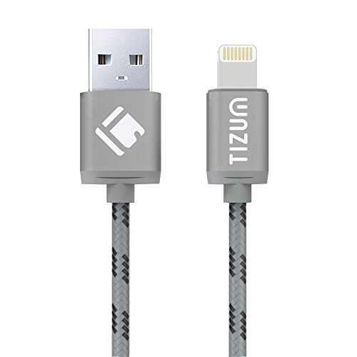 Tizum-8-Pin-Lightning-to-USB-Cable-40-ft-12-mtr-Premium-Kevlar-Nylon-Fiber-Fast-Charging-Data-Sync-Flat-Cable