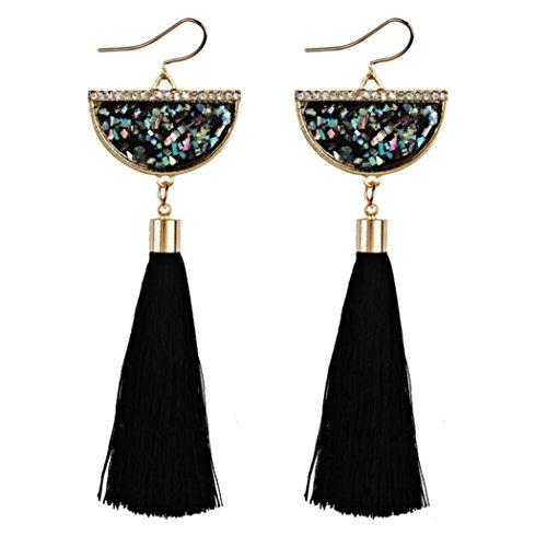 Diamond Bangles Black Vintage (Women Earrings Fashion, Paymenow Clearance Girls Vintage Ethnic Tassel Long Hook Dangle Earrings Bohemian Drop Earrings Eardrop (Black))