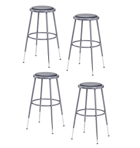 Cheap (4 Pack) NPS 25″-33″ Height Adjustable Heavy Duty Vinyl Padded Steel Stool, Grey