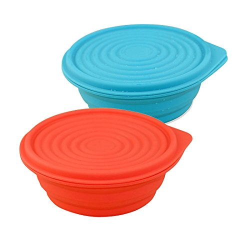 Collapsible Food Grade Silicone Bowls with Lids, BPA-free, Camping, Traveling, Pets, Hiking, Expandable Portable Backpacking Bowl (2 PC) by LTFT