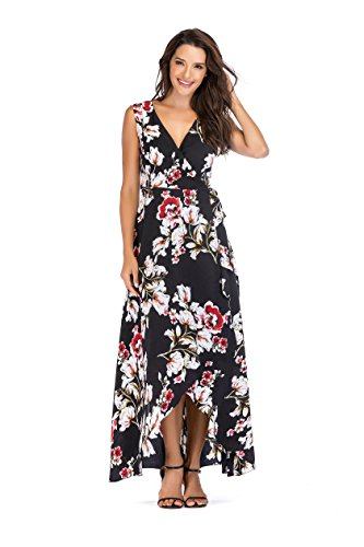 NALATI Women's Deep V Neck Sleeveless Floral Print High-Low Wrap Maix Dress (12/14, Black)